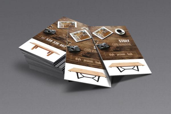 projekt wizytówki, stolarz, stoły drewniane